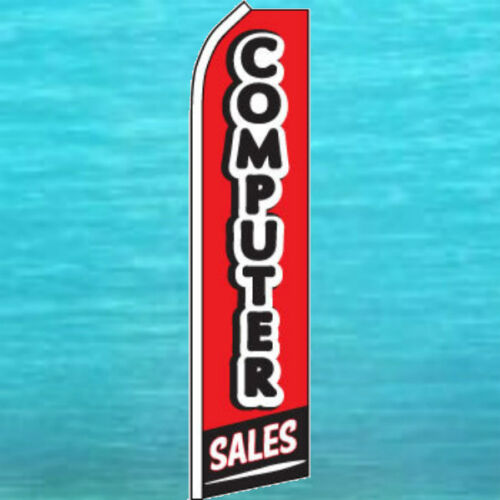 COMPUTER SALES FLUTTER FLAG Tall Curved Advertising Sign Feather Swooper Banner