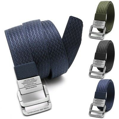 Men Military Equipment Tactical Canvas Belt Double Ring Buckle Fashion Waistband
