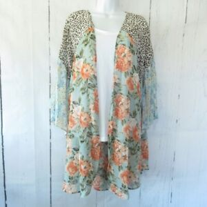 New Umgee Duster Kimono 1X Sage Green Floral Boho Peasant Plus Size Cottagecore