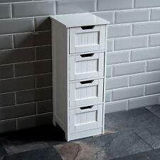 Home Discount Bathroom 4 Drawer Floor Standing Cabinet Unit Storage Wood White