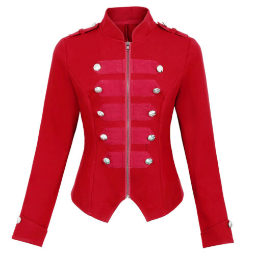 Autumn Spring Women Military Coat Jackets Zip Up Buttons Steampunk Punk Coats