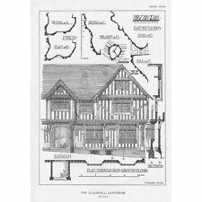 LAVENHAM The Guildhall Architectural Details - Vintage Print 1929