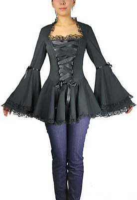 Plus Size Black Gothic Bell Sleeve Corset Ribbon Lace Top 1X 2X 3X 4X