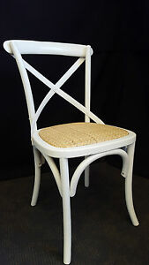 NEW-FRENCH-PROVINCIAL-INDUSTRIAL-WOODEN-CROSS-BACK-CHAIR-DINING-ANTIQUE-WHITE