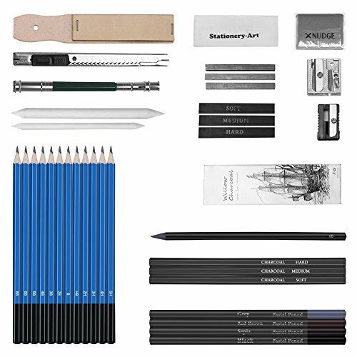 33Pcs Sketching and Drawing Pencils Set Graphite Charcoal Sticks Case Set