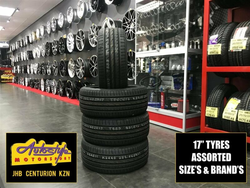 Tyres brand new 17 inch 205 40 17 from R620  Other sizes available. We beat any price. Open 7 days.