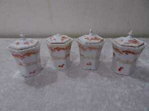 4-x-antiguedad-Jugendstil-Design-porcelana-de-existencias-lata-Vintage-para-1900