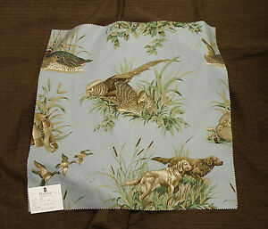 Duralee Dog & Pheasant Remnant Fabric & Coordinate Brown Chenille Fabric