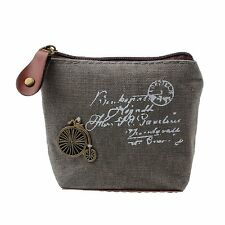 Unisex Canvas Zip Coin Purse Mini Money Wallet Pouch Purse Gift -Grey