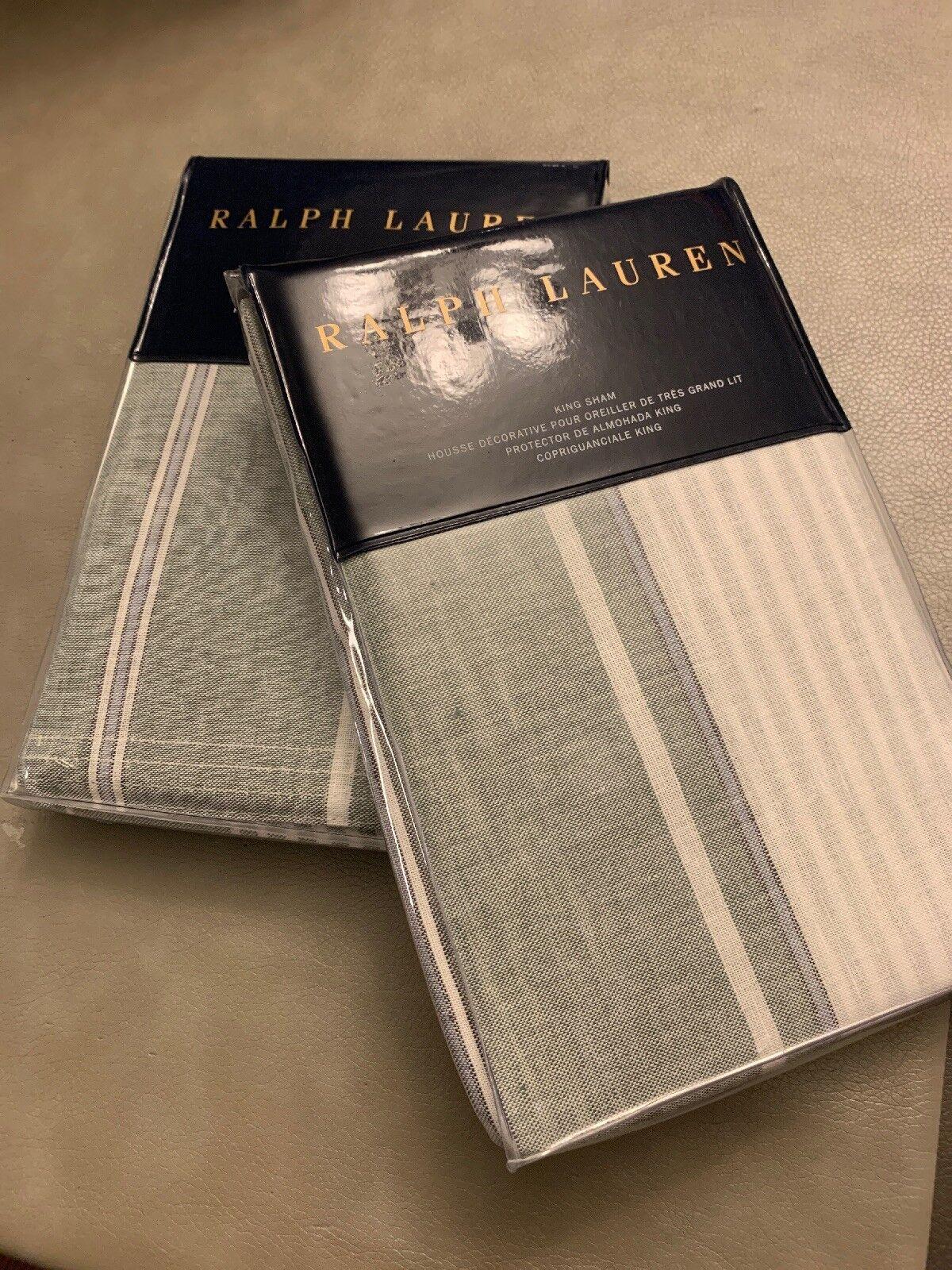 Ralph Lauren Set Of 2 Oakview King Shams bianca verde blu Striped Cotton Linen