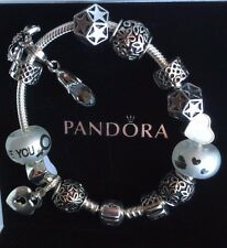 """Authentic Pandora Bracelet """"White Love"""" with European Charms Gift Wife Mom"""