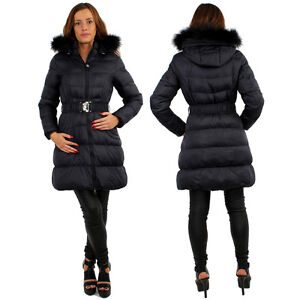Womens Padded Puffer Shell Long Length Winter Jacket Coat Puffa ...