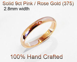 9ct-375-Solid-Pink-Rose-Gold-Ring-Wedding-Engage-Friend-Half-Round-Band-2-8mm