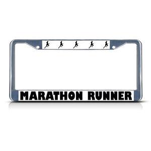 Marathon Runner Metal License Plate Frame Tag Border Two
