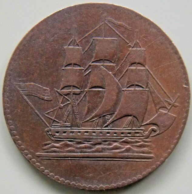 PE10-2 Canada Prince Edward Island PEI Ships Colonies & Commerce Token US Flag