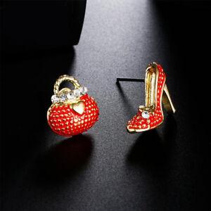 Cute-Asymmetric-Bags-High-Heels-Shoe-Stud-Earrings-For-Women-Girl-Ear-Stud
