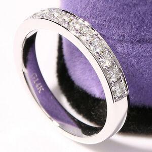 Moissanite Wedding Band Anniversary Ring Milgrain 14k White Gold