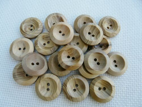 10 NATURAL WOODEN BUTTONS SIZE 22 14MM FREE P/&P UK