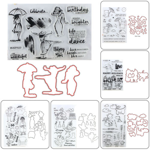 Metal Cutting Dies Clear Stamp Set Embossing Stencil DIY Scrapbooking Card Craft