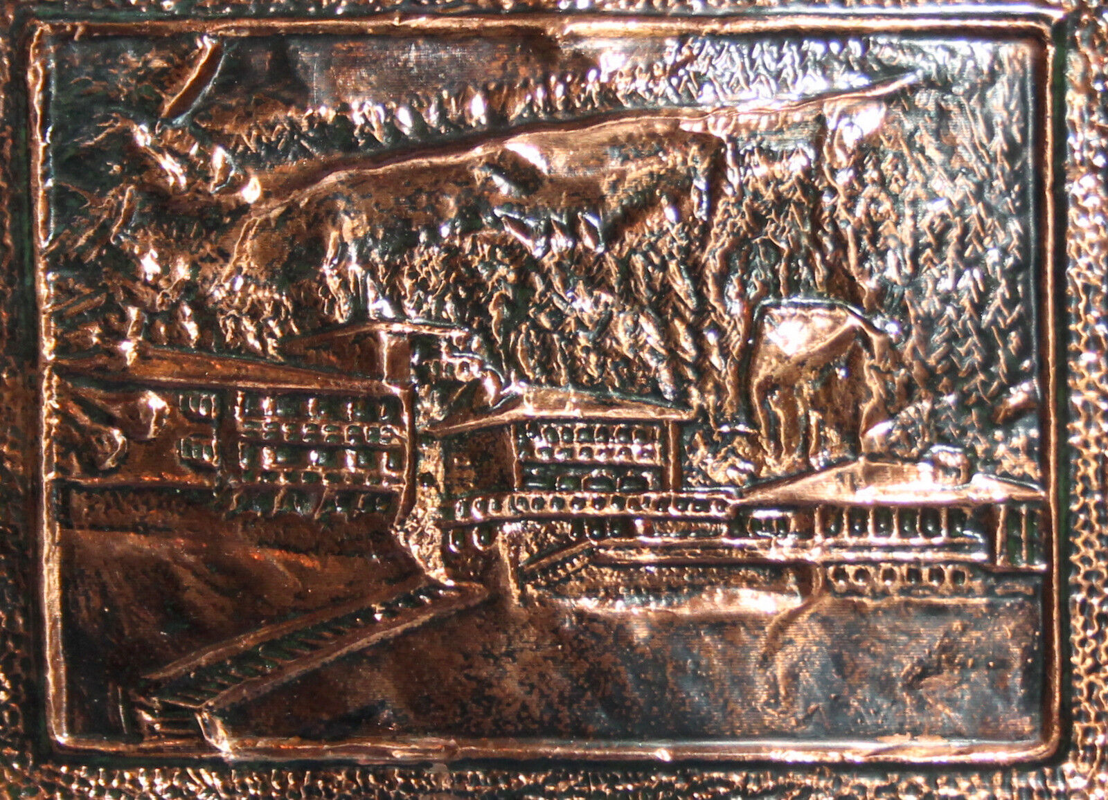 Vintage hand made copper wall decor plaque landscape