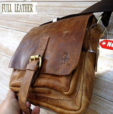 Genuine Vintage hard Leather Shoulder Bag Messenger man i pad Cowhide Bull id 9