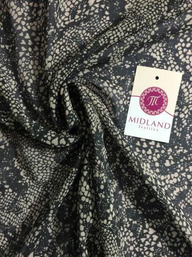 "Black and Beige Semi transparent chiffon fabric Lightweight 44/"" M161-22 Mtex"