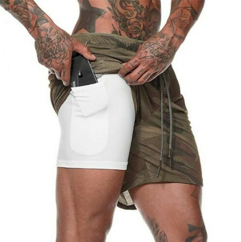 2n1 Mens Sports Gym Running Shorts Fitness Drawstring QuickDry With Pocket Pants