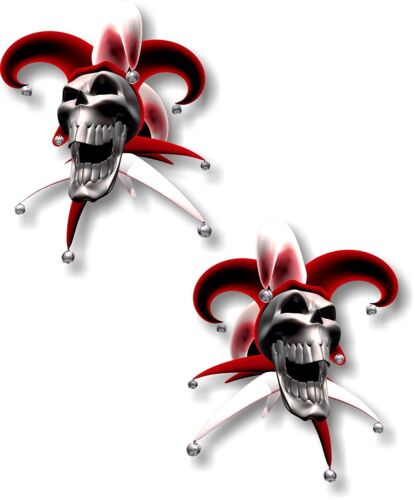pair Vinyl sticker//decal Extra small 50mm jester laughing skull red