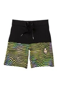 09eb88a5234 Volcom Big Boys XL Board Shorts Swim Trunks Black Vibes Elastic ...