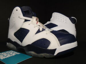 5b011c6d534a KIDS NIKE AIR JORDAN VI 6 RETRO PS OLYMPIC WHITE NAVY BLUE RED ...