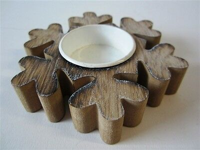 Single Wooden Snowflake Star Shaped Tea-Light Candle Holder *Nordic Christmas