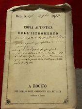 COPIA AUTENTICA DOCUMENTO ROGITO VILLA COMO LAGO 1872 ISTROMENTO