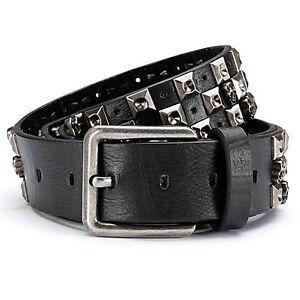 e8731a55e9b738 Das Bild wird geladen Totenkopf-Nietenguertel-mit-Leder-Rueckseite -Gothic-schwarz-Nieten-