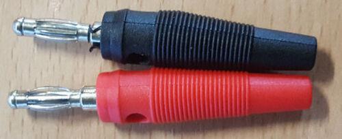 4mm Büschelstecker Laborstecker schraubb 2x Bananenstecker 1x schwarz 1x rot