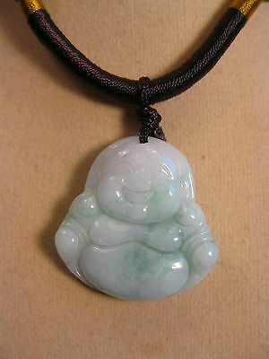 "Fait Main Anneau Ouvrage Cordelette Réglable Jade "" Riant Bouddha "" Pendentif Bracing Up The Whole System And Strengthening It Gemstone"