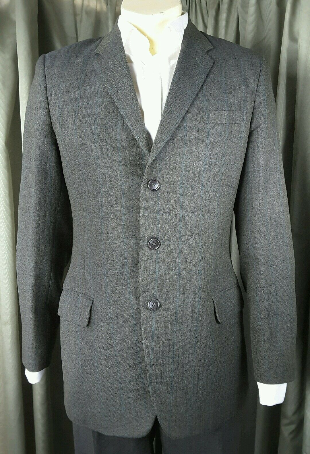 Gieves Vintage 60s Three Button Herringbone Suit C38 W32-36