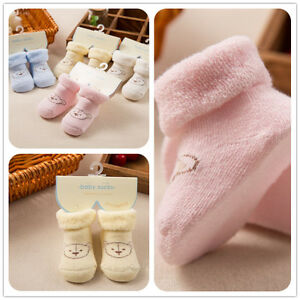 New Baby Socks Newborn Lot With Bear Warm Winter Thick Winter Socks