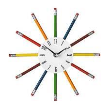 Wall Clock Pencil Multi Colour Funky Kids Nursery Bedroom Home Office Wall Clock
