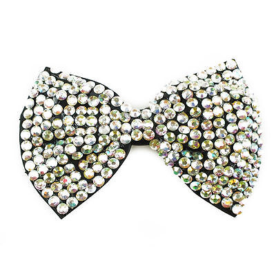 1 x LARGE 14cm Girls Bling Bow Crocodile Hair Clip Old School Style Diamond Bows