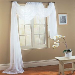 Image Is Loading WHITE Valance Sheer Curtain Scarf Panel Swag Voile