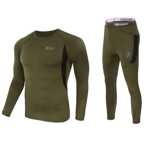 Mens Base Layer Sports Wear Tops T-Shirts Compression Tights Skin Pants