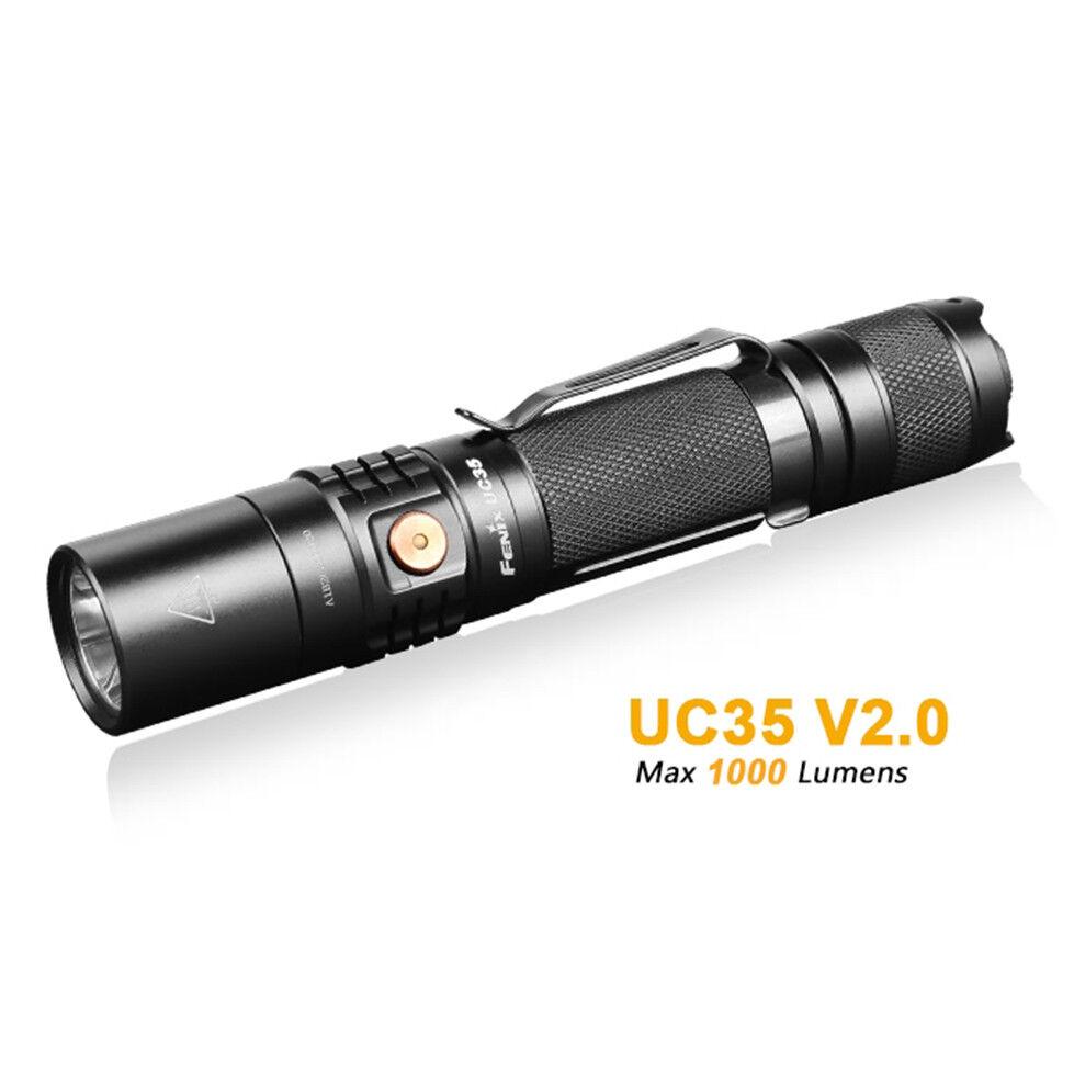 Fenix UC35 V2.0 LED 1000LM Micro USB Rechargeable Tactical LED V2.0 Flashlight w/ Battery 6328a5