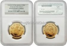 Nepal 1974 Year of Child 10 Asarphi Gold NGC PF-69 ULTRA CAMEO