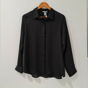 H-amp-M-Size-EUR-44-AU16-Black-Button-Up-Shirt-Collared-Long-Sleeve-Top-Workwear