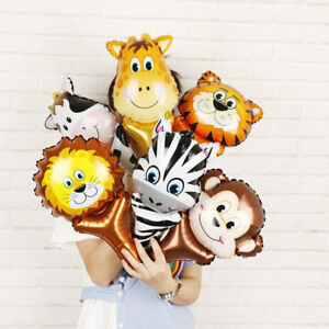 Animal-Head-Foil-Balloons-Safari-Zoo-Handheld-Birthday-Party-Decorations