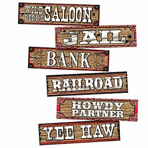 Western Cowboy Decoration Signs Wild West Retro Style Jail Bank