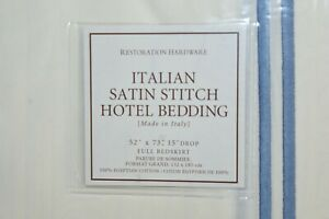 RESTORATION HARDWARE Hotel Satin Stitch Ivory Cal King Bed Skirt NEW Navy
