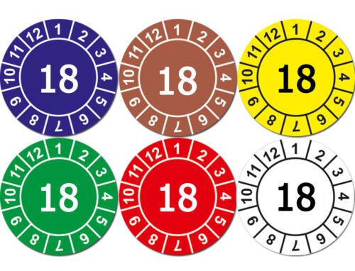 Aufkleber Prüfplaketten Jahresplaketten 18 WEISS mit Sicherheitsstanzung GLANZ