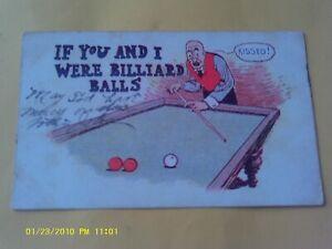 1907-FUNNY-HUMOR-POSTCARD-BILLIARDS-TABLE-MAN-PLAYING-POOL-BALLS-KISSED