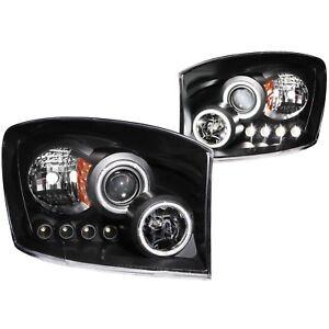 Anzo-USA-111104-Projector-Headlight-Set-w-Halo-Fits-Ram-1500-Ram-2500-Ram-3500
